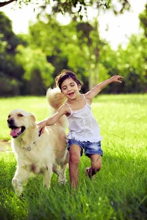 Niña con su perro golden retriever